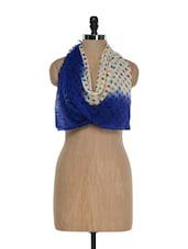 Fabulous Blue Polka Dot Woollen Stole - Sage