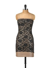 Lacy Beige And Black Tube Dress - Ruby
