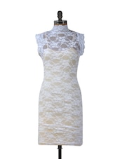 White High-Neck Lace Dress - Ruby