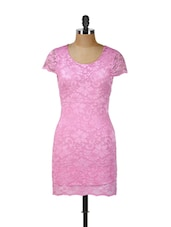 Pink Floral Lace Dress - Ruby