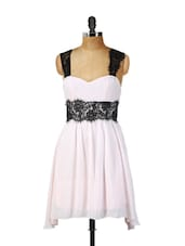 Baby Pink Dress With Black Lace Detailing - Ruby