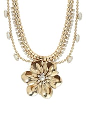 Gold Flower Pendant Necklace With Dainty Pearls - Blueberry