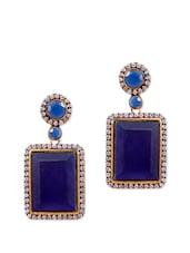 Fancy Blue Stone Earrings With American Diamonds - Rajwada Arts