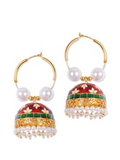 Traditional Jhumkis With Red, Green And White Enamel - Rajwada Arts