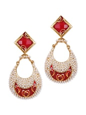White And Red Earrings With White Beads - Rajwada Arts