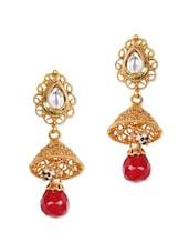American Diamond Earrings With Red Stone - Rajwada Arts