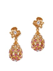 Traditional Gold Drop Earrings With Pink Stones - Rajwada Arts