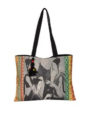 Women Illustrative Cotton Canvas Handbag - The House Of Tara