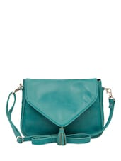 Tassel Trim Turquoise Sling Bag - The House Of Tara