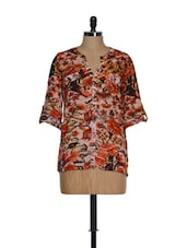 Multi-coloured Stylish Roll-up Sleeved Top With Floral Prints - Toscee