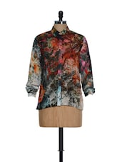 Elegant High-collared Neck Shirt With Multi-coloured Digital Prints - Toscee