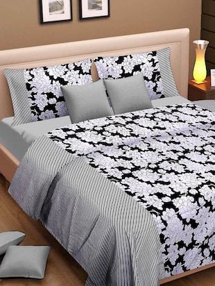 Black and white floral print Single Bed dohar