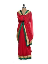 Red Georgette Saree With Green Gold Border - Get Style At Home