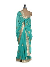 Gold Metal Print Turquoise Saree - Get Style At Home