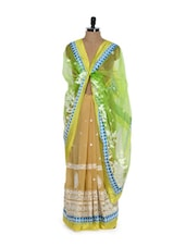 Multi Hue Georgette Net Saree - Get Style At Home