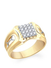 Diamante Laser Cut Gold Ring - VK Jewels