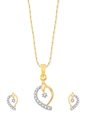 Mango Shaped Gold Pendant Set With Earrings - VK Jewels