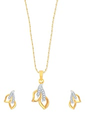 Two Leaf Gold And Rhodium Plated Pendant Set With Earrings - VK Jewels