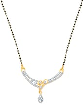 Three Leaf Design  Wedding Mangalsutra Pendant Gold And Rhodium Plated Pendant - VK Jewels