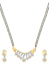 Shine Stars Gold And Rhodium Plated Mangalsutra  Pendant Set With Earrings - VK Jewels