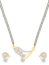 Dazzling Stars Gold And Rhodium Plated Mangalsutra  Pendant Set With Earrings - VK Jewels