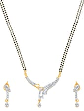 Bewitching Gold And Rhodium Plated Mangalsutra  Pendant Set With Earrings - VK Jewels