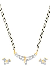 Shades Of Love Gold And Rhodium Plated Mangalsutra  Pendant Set With Earrings - VK Jewels