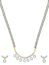 Artistic Design Gold And Rhodium Plated Mangalsutra  Pendant Set With Earrings - VK Jewels
