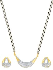 Ravishing Gold And Rhodium Plated Mangalsutra  Pendant Set With Earrings - VK Jewels