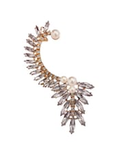 Stunning Crystal Leaves And Pearl Flower  Ear Cuff - Fayon