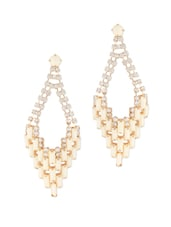 Elite Beige Stones And Crystal Studded Chandelier Earrings - Oomph