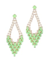 Elite Green Stones And Crystal Studded Chandelier Earrings - Oomph