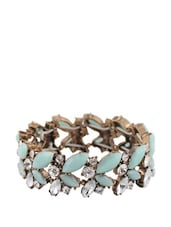 Blue Stone And Crystal Studded Floral Pattern Bracelet - Oomph