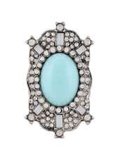 Elegant Blue Stone And Crystal Studded Ring - Oomph