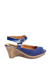 Blue Peep-Toe Wedges - Marc Loire