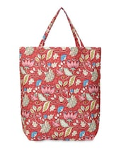 Red Floral Print Tote Bag - YOLO - You Only Live Once