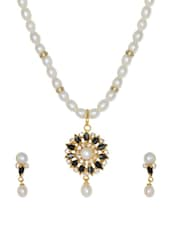 Elegant Set Of Gold Plated Pearl Necklace And Earrings With Stone Work And American Diamonds - Nisa Pearls