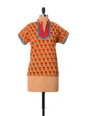 Floral Orange Cotton Top - Little India