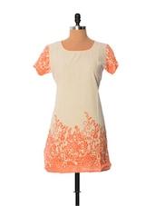 Cream And Orange Printed Kurti - Little India