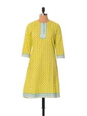 Light Green Printed Cotton Kurti - Little India