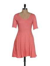 Ravishing Calypso Coral Flared Dress With Mid-sleeves - Femella