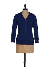V-neck Front Zipper Navy Blue Hooded Jacket - Femella