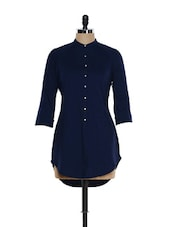 Navy Blue Button Down Shirt Tunic - Femella