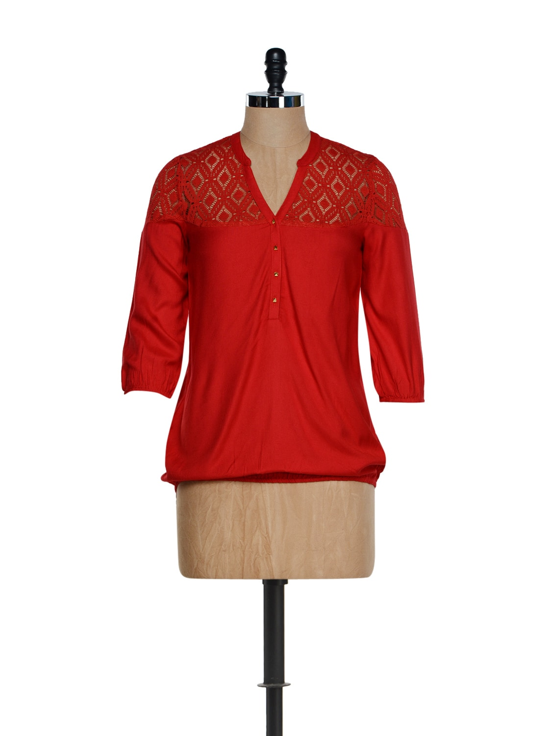 Red Elegant V-neck Top With A Lace Yoke - Femella