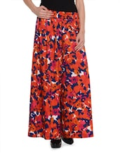 Trendy Bright Red Printed Palazzo Pants - GraceDiva
