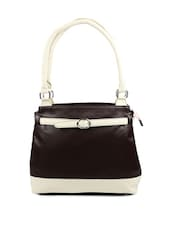 Chic Brown Leather Handbag With Lovely Cream Straps - Borsavela