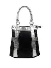 Stunning Black Leather Tote With Gorgeous Silver Straps - Borsavela