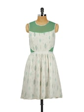 Sleeveless Off-White & Green Dress - Mishka