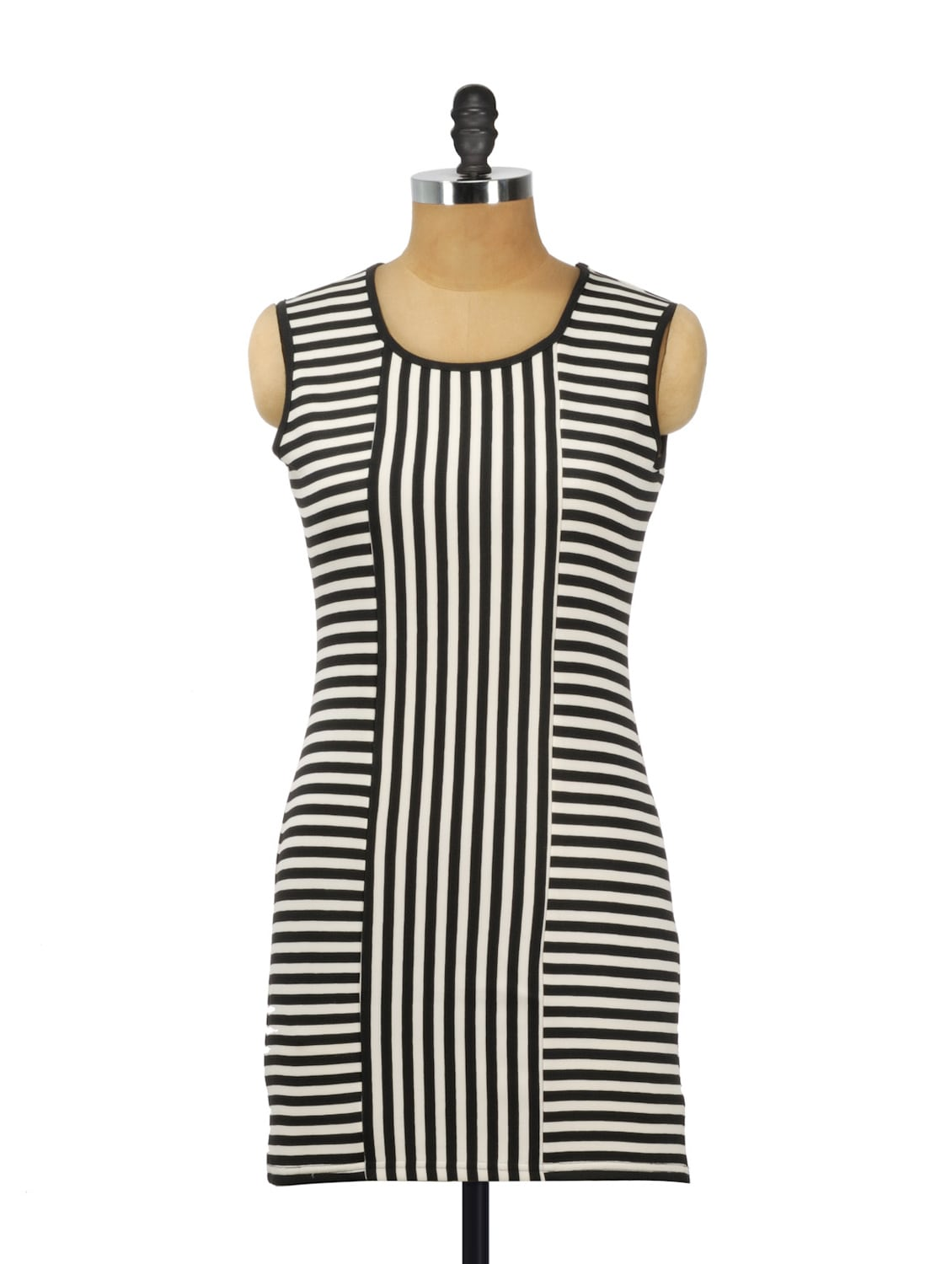 Black And White Striped Cotton Knit Dress - AKYRA