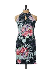 Black Cotton Knit Dress With A Front Key-hole And Multi-coloured Floral Prints - AKYRA